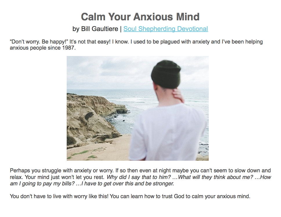 Calm Your Anxious Mind - Soul Shepherding Devotional