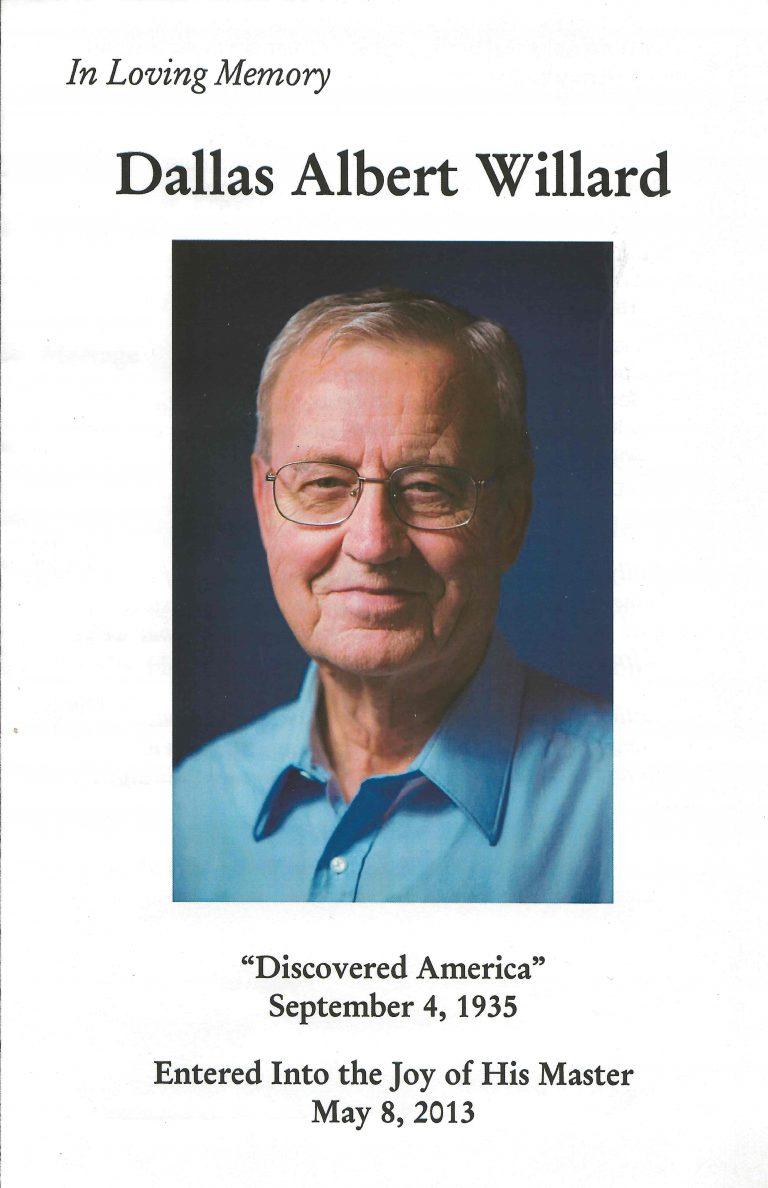 Personal Reflections from Dallas Willard's Funeral - Soul